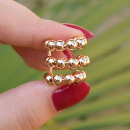 Piercing de encaixe individual esferas ouro semijoia