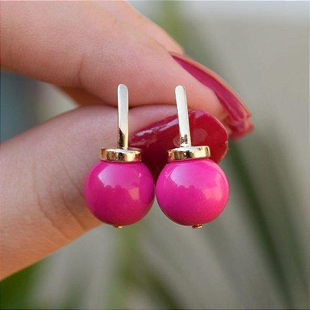 Brinco palito bola pink ouro semijoia