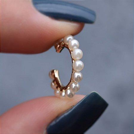 Piercing de encaixe individual pérola ouro semijoia 511010631