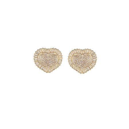 Brinco coração cristal zircônia ouro semijoia
