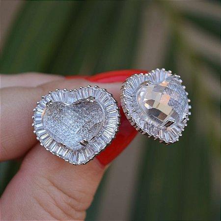 Brinco coração cristal zircônia ródio semijoia