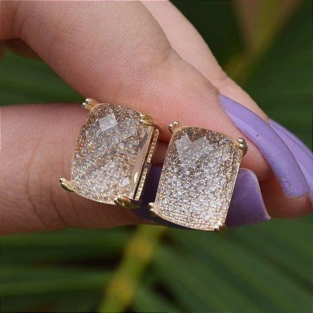 Brinco cristal retangular ouro semijoia