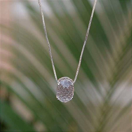 Colar cristal oval ródio semijoia