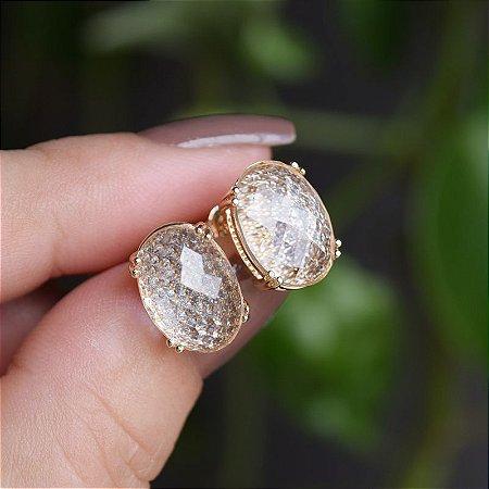 Brinco oval cristal ouro semijoia