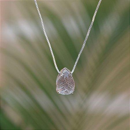 Colar curto gota cristal ródio semijoia