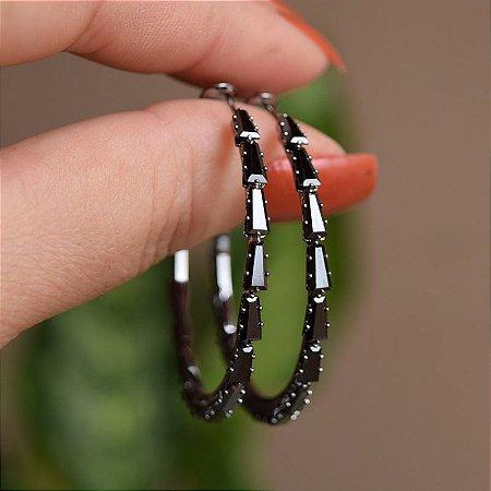 Brinco argola zircônia black ródio negro semijoia