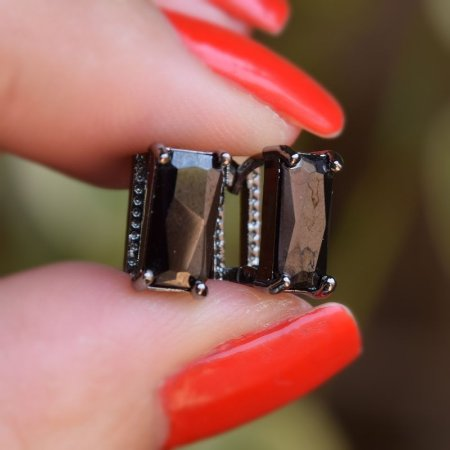 Brinco argolinha zircônia ródio negro semijoia 19K05038
