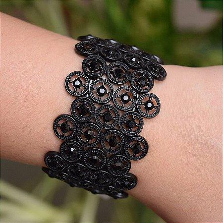 Bracelete metal cristal preto