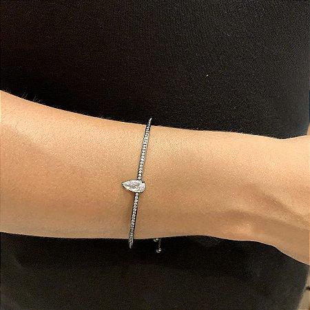 Bracelete fino gravata zircônia gota ródio negro semijoia