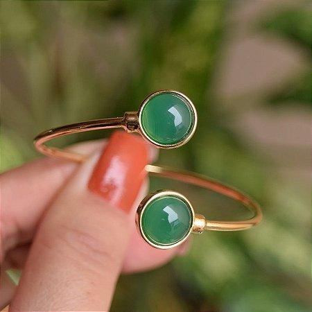 Bracelete ajustável pedra natural ágata verde ouro semijoia