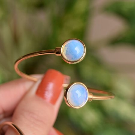 Bracelete ajustável pedra natural opalina ouro semijoia