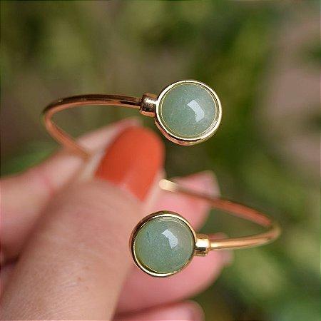 Bracelete ajustável pedra natural quartzo verde ouro semijoia