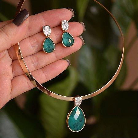 Colar e brinco pedra natural esmeralda ouro semijoia