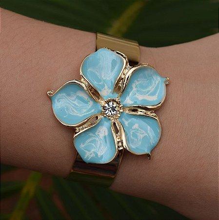 Bracelete flor esmaltado azul ouro semijoia
