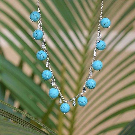 Colar curto bolas turquesa ródio semijoia