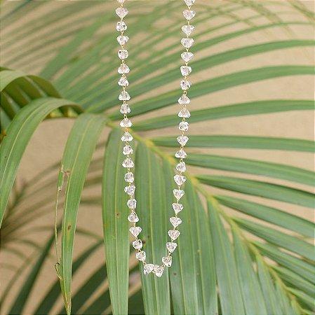 Colar longo cristal transparente ouro semijoa