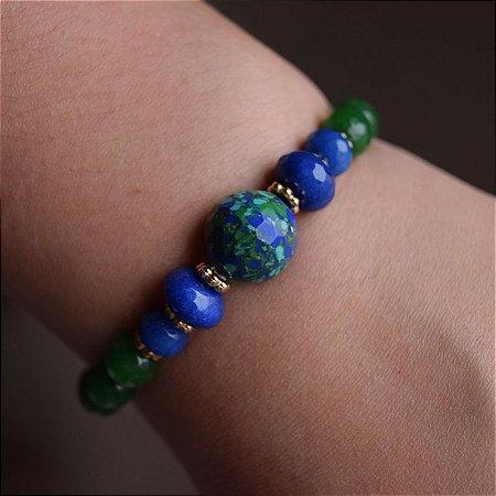 Pulseira cristais verde e azul semijoia