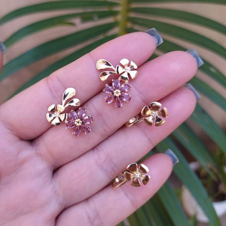 Kit brinco e piercing de encaixe flor zircônia lilás ouro rosê semijoia