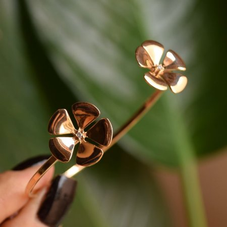 Bracelete flor ouro rosê semijoia
