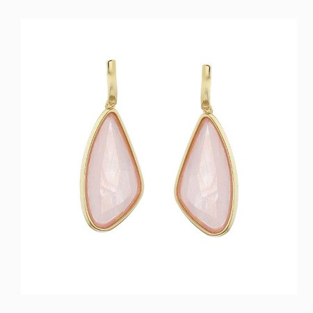 Brinco geométrico pedra natural madrepérola rosa ouro semijoia