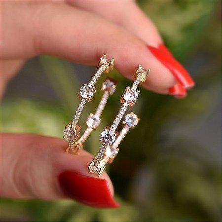 Brinco argola zircônia cristal ouro semijoia