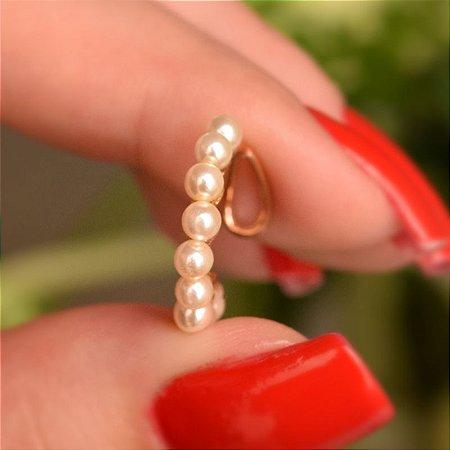 Piercing de encaixe individual pérola ouro semijoia