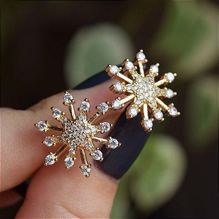 Brinco estrela zircônia ouro semijoia