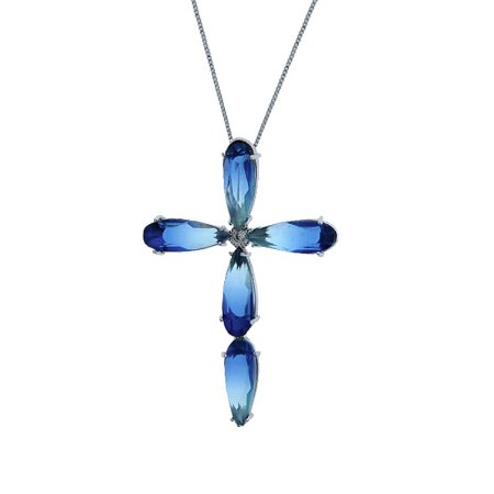 Colar cruz cristal azul ródio semijoia