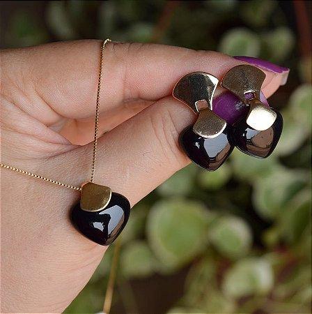 Colar e brinco coração pedra natural ágata preta ouro semijoia