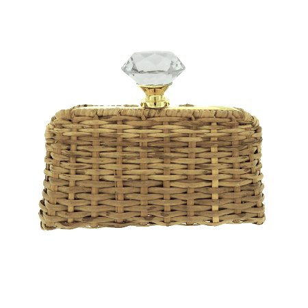 Clutch Confraria cristal junco palha natural