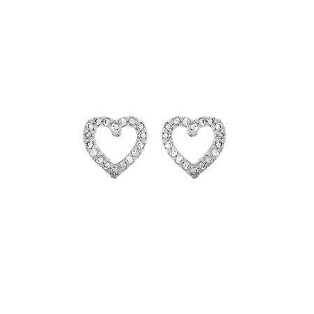 Brinco coração vazado pequeno zircônia ródio semijoia 17K09018
