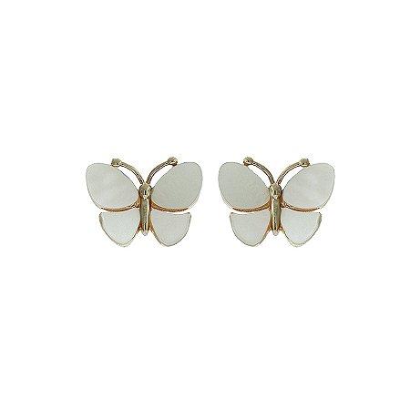 Brinco borboleta p madrepérola ouro semijoia 9A16133