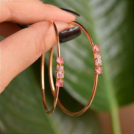Brinco argola cristal rosa rosê semijoia