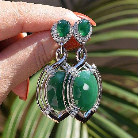 Brinco cristal verde esmeralda ródio semijoia