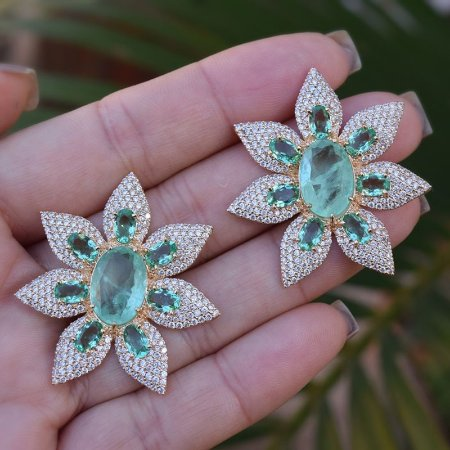Brinco Suntuoso Flor Cristal Verde Ouro Semijoia