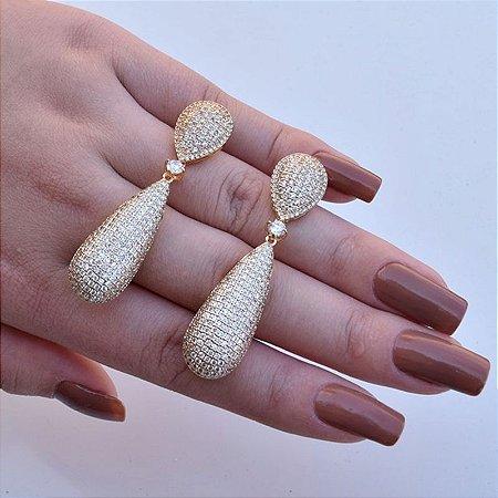 Brinco gota zircônia cristal ouro semijoia