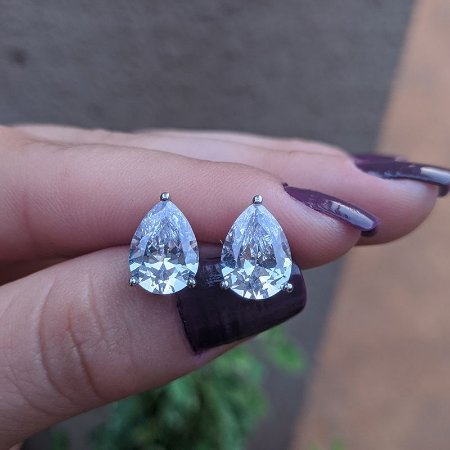 Brinco gota zircônia cristal ródio semijoia 512003575
