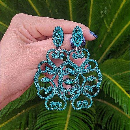 Brinco Leticia Sarabia arabesco cristal verde