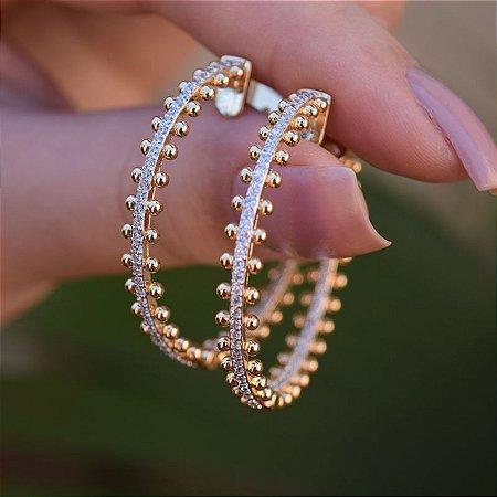 Brinco argola ponteiras zircônia cristal ouro semijoia 514010282