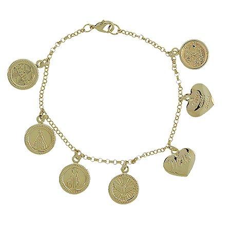 Pulseira 7 medalhas religiosas ouro semijoia