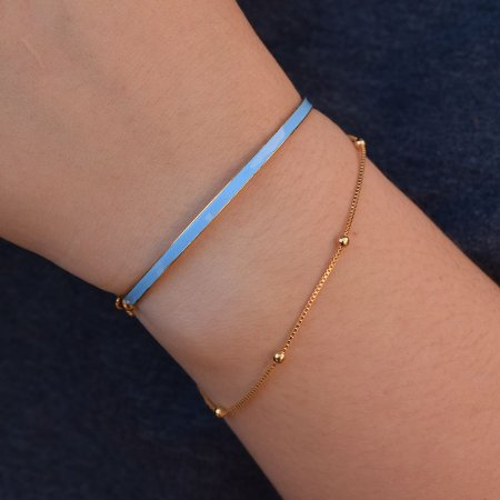 Pulseira bracelete metal azul ouro semijoia