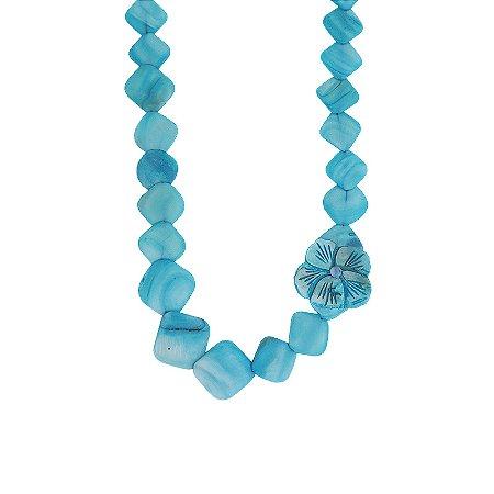 Colar longo madrepérola azul com flor
