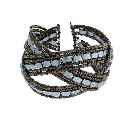 Bracelete miçanga dourado velho com prata