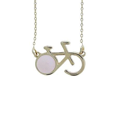 Colar bicicleta pedra natural  quartzo rosa ouro semijoia