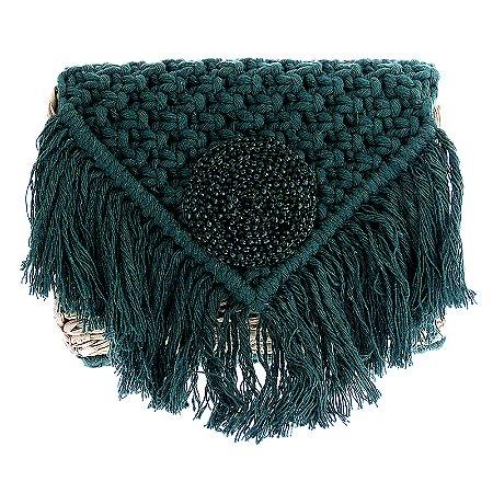 Bolsa palha Alana Tenório bordada verde