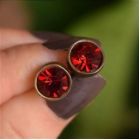 Brinco ponto de luz Claudia Marisguia cristal rubi