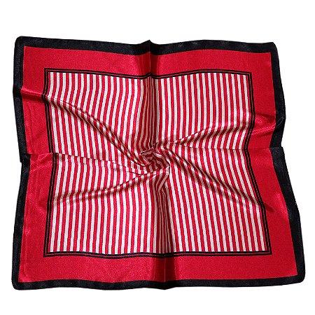 Lenço Quadrado listras preto, vermelho e marfim