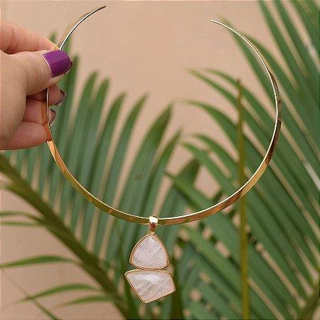 Colar aro pedra natural quartzo rosa ouro semijoia