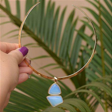 Colar aro pedra natural opalina ouro semijoia
