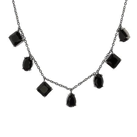 Colar 7 cristais preto ródio negro semijoia